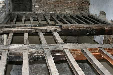 The first floor beams uncovered
